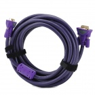 MILLIONWELL 01.0032 24K Gold-Plated VGA 3+6 Male to Male Connection Cable - Purple (5m)