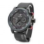 SPEATAK SP9035G Rubber Band Analog Quartz Wrist Watch for Men - Black