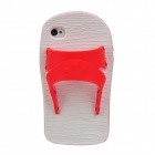 Creative Slipper Style Protective Silicone Back Case for iPhone 4 / 4S - Red + White