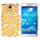 Elegant Hollow-Out Flower Style Protective Plastic Back Case for Samsung Galaxy S4 i9500 - Golden