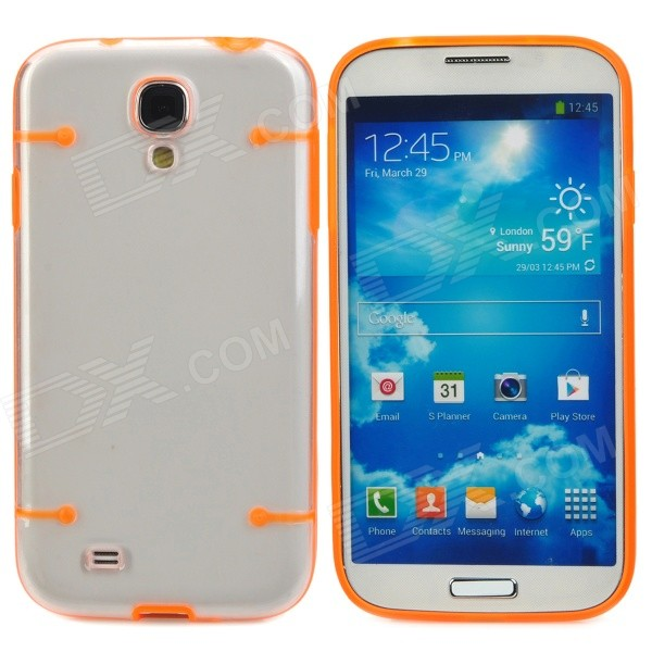 Protective Noctilucent Plastic Case for Samsung Galaxy S4 i9500 - Orange + Transparent protective plastic back case for samsung galaxy s4 i9500 white transparent