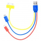 USB Male to Apple 30-Pin / Lightning 8-Pin / Micro USB Male Power Cable - Red + Blue + Yellow