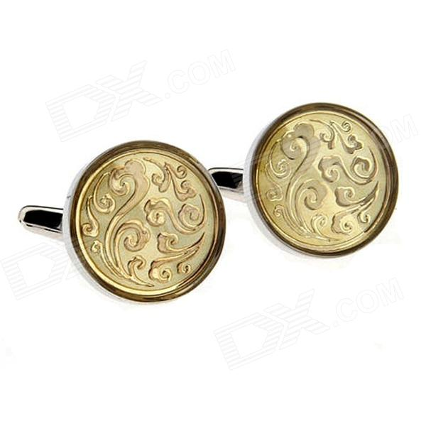 Circle Pattern Steel Varnish Baking Cufflinks for Men Silvery + Gloden (Pair)