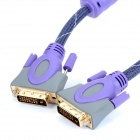 MILLONWEL 24K Gold Plated DVI 24+1 Male to Male Connecting Cable - Purple + Deep Blue (1.8M)