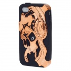 3D Skull Style Protective Silicone Back Case for Iphone 4 / 4S - Coppery + Black