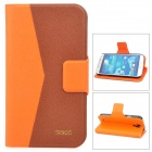 Protective PU Leather Flip-Open Case for Samsung Galaxy S4 i9500 - Orange + Brown