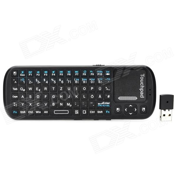 ipazzport  KP-810-19 Germany + English Language Mini Wireless 84-Keys Keyboard - Black компьютерная клавиатура ipazzport 2 4g 5pcs c1644ru