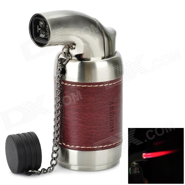 HONEST 516 Windproof 2000'C Butane Jet Torch Lighter - Silver + Brown