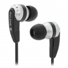 K283MP Flat Cable In-Ear Earphones w/ Earbuds - Black + Silver (3.5mm Plug / 111cm-Cable)
