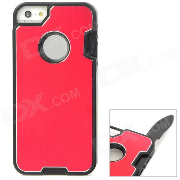 Multifunction Protective Stainless Steel + ABS Back Case w/ Tool Set for Iphone 5 - Red edcgear piranha multifunction stainless steel edc tool silver