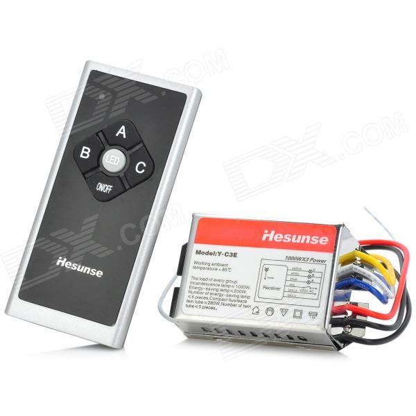 Hesunse Y-C3E 3-Way Wireless Digital Remote Control Switch Silver + Red (180~250V) 4 ch manual wireless remote control switch 180 250v