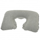 JOYTOUR U Shaped Air Inflatable Cushion PVC Flocking Neck Pillow + Eyeshade + Earplug - Grey + Black