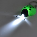 Cute Lady Beetle Style White LED Light Keychain - Green + Black