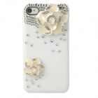 Elegant Camellia Style Protective Rhinestone Plastic Back Case for Iphone 4 / 4S - White