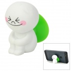 Lovely Cartoon Doll Style Suction Cup Plastic Stand Holder for iPhone / Cell Phone - White