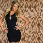 Sexy Black Ruched Stunner with Gold Studs Front Dress for Women - Black (Size L)