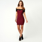 Sexy Megan off The Shoulder Lace Trim Bodycon Dress for Women - Red + Black (Size L)