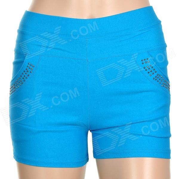 Фото Fashion Woven Fabric Short Pants for Women - Blue (Size Free)