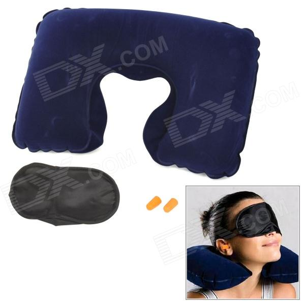 JOYTOUR U Shape Travel Air Inflatable Neck Pillow + Blinder + Earbud - Deep Blue +  Black + Orange