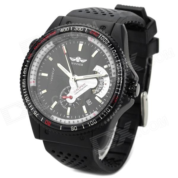 Winner a376 Silicone Band Mechanical Self-winding Analog Wrist Watch w/ Calendar for Men - Black