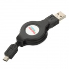 Male USB 2.0 to Mini USB Retractable Data Sync & Charging Cable - Black (115cm)