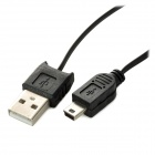 Male USB 2.0 a Mini USB retráctil de sincronización de datos y cable de carga - Negro (115cm)