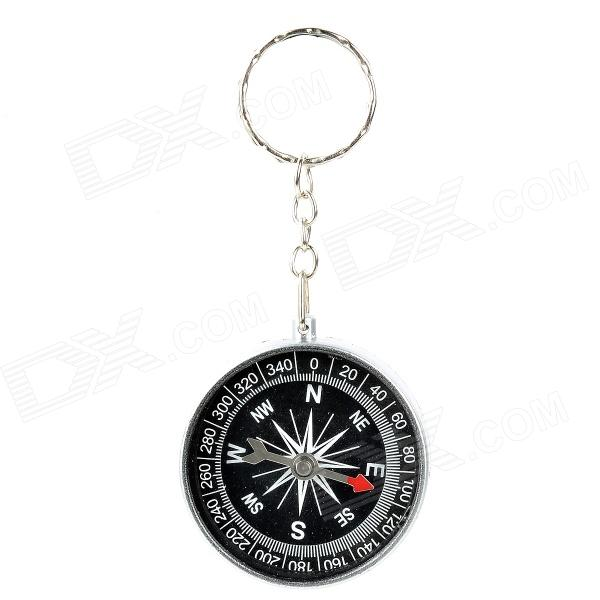 Creative Compass Style Keychain - Silver + Black 25mm mini outdoor survival button compass black green 5 pcs