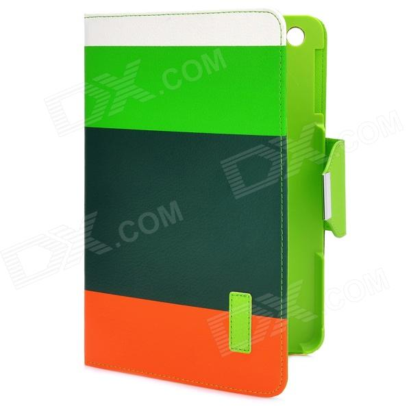 Colorful Protective PU Leather Case/ Card Holder for Ipad MINI - Green + Orange stylish pu leather business credit card holder case bag 18 pocket green