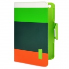 Colorful Protective PU Leather Case/ Card Holder for Ipad MINI - Green + Orange