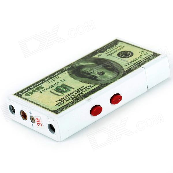 Creative Dollar Pattern Butane Gas Lighter w/ Purple / White Light - White + Green creative 100 dollar bill style door stopper guard white green black