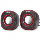 WuXianJi 3105 USB Powered Mini 3W x 2 Stereo Speakers Subwoofer - Black + Red (2 PCS)