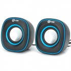 WuXianJi 3105 USB Powered Mini 3W x 2 Stereo Speakers Subwoofer - Black + Blue (2 PCS)