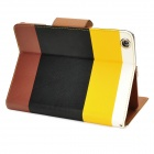 Protective PU Leather Case w/ Card Holder for Ipad MINI - Black + Yellow + Brown