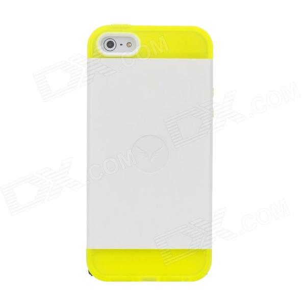 Protective Silicone Back Case for iPhone 5 - Yellow + White
