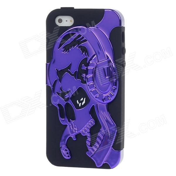 3D Skull Protective Plastic Back Case for Iphone 5 - Purple + Black protective outdoor war game military skull half face shield mask black