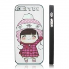 ENKAY Winter Girl Pattern Protective Plastic Case for Iphone 5 - Black + Multicolor
