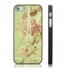ENKAY Flower and Tower Pattern Protective Plastic Case for Iphone 5 - Black + Multicolor