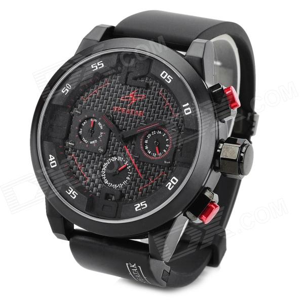 SPEATAK SP9035 Fashion Luxury Rubber Band Analog Quartz Wrist Watch for Men - Black + Red paidu fashion men wrist watch casual round dial analog quartz watch roman number faux leatherl band trendy business clock
