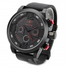 SPEATAK SP9035 Fashion Luxury Rubber Band Analog Quartz Wrist Watch for Men - Black + Red