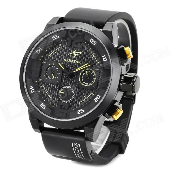 SPEATAK AP9035G Fashion Luxury Rubber Band Analog Quartz Wrist Watch for Men - Black + Yellow paidu fashion men wrist watch casual round dial analog quartz watch roman number faux leatherl band trendy business clock