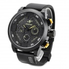 SPEATAK AP9035G Fashion Luxury Rubber Band Analog Quartz Wrist Watch for Men - Black + Yellow