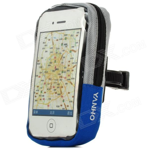 Bicycle Handlebar Mobile Phone Bag w/ Touch Screen Window - Grey + Blue