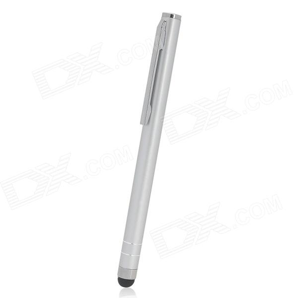 Ballpoint Pen Style Capacitive Touch Screen Stylus Pen w/ Clip for Iphone / Ipad - Silver