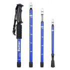 Better Shockproof 4-Fold Retractable Aluminum Alloy Hiking Pole Alpenstocks - Black - Blue (2 PCS)