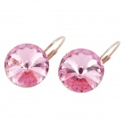 KCCHSTAR Stylish Big Crystal Earrings - Pink + Golden (Pair)