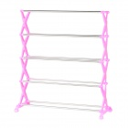 DIY 5-Layer Stainless Steel + Plastic Shoes Rack - Deep Pink + Silver