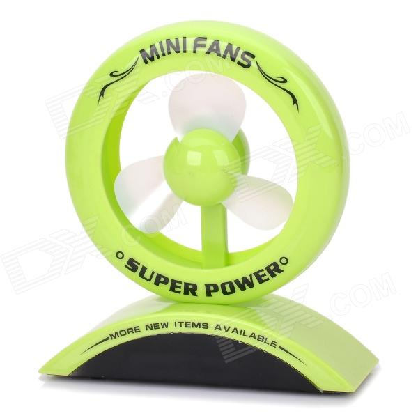 JinTuZi 888 USB Power 2-Mode 3-Blade Mini Fan - Green + Black (3 x AAA)