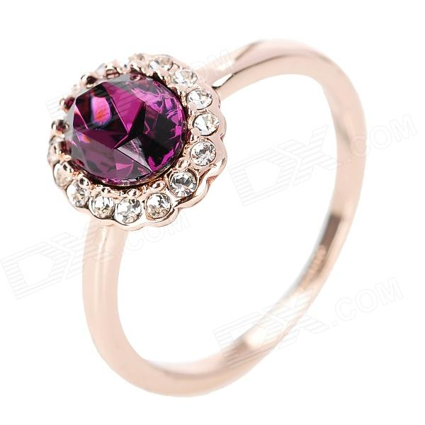 KCCHSTAR 18K Crystal Ring with Artificial Diamond - Golden + Purple 58