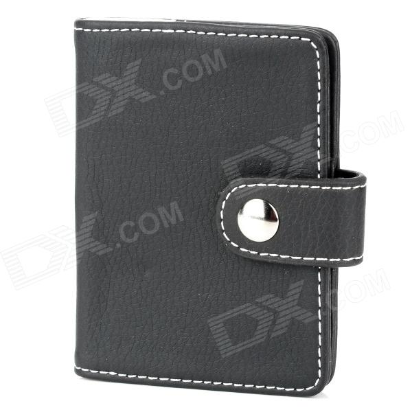 Fashion Artificial Leather Credit / Bank / Business Card Holder Bag - Black stylish pu leather business credit card holder case bag 18 pocket green