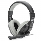 Cosonic CT-770 3.5mm Wired Stereo Bass Headset w/ Microphone for Computer Game - Black + Gray (1.8m)